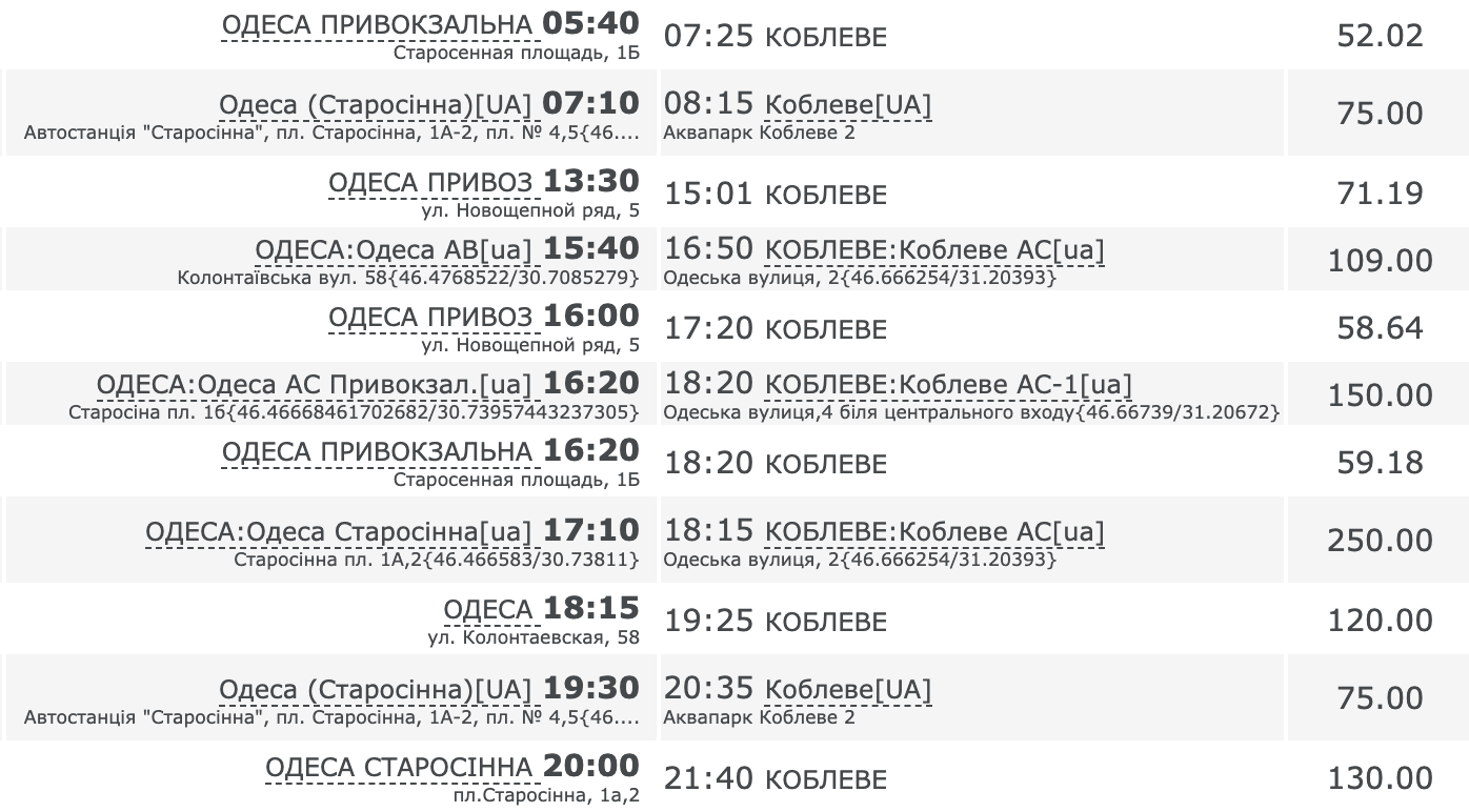 Как добраться в Коблево на автобусе из Одессы
