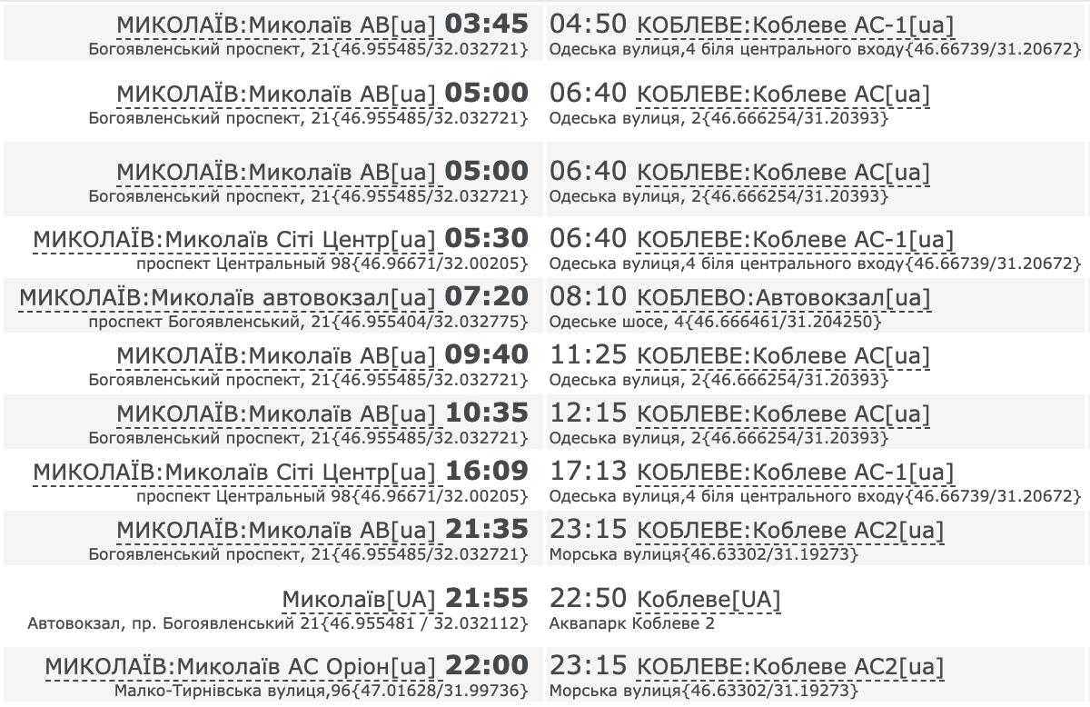 Как добраться в Коблево на автобусе из Николаева