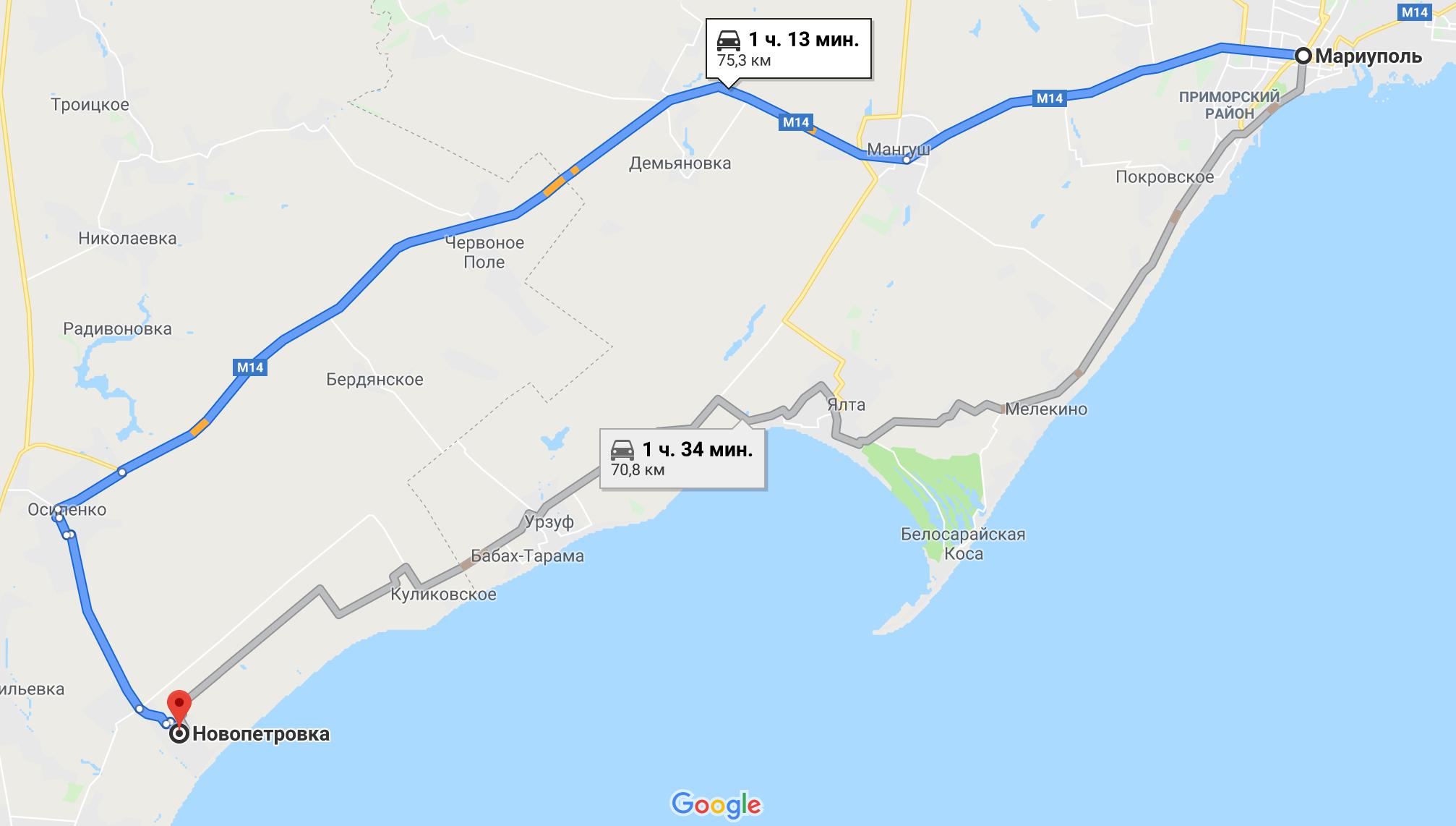 Как добраться до Новопетровки на авто из Мариуполя