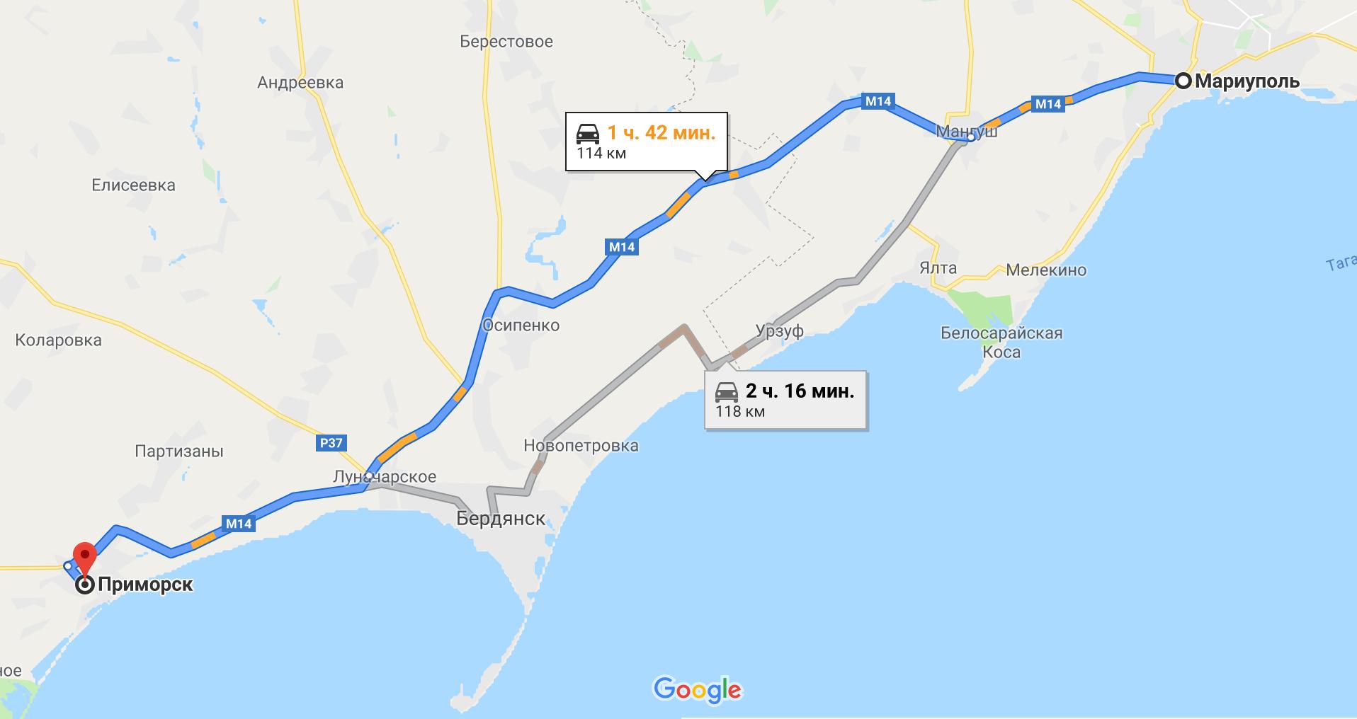 Как добраться до Приморска на авто из Мариуполя