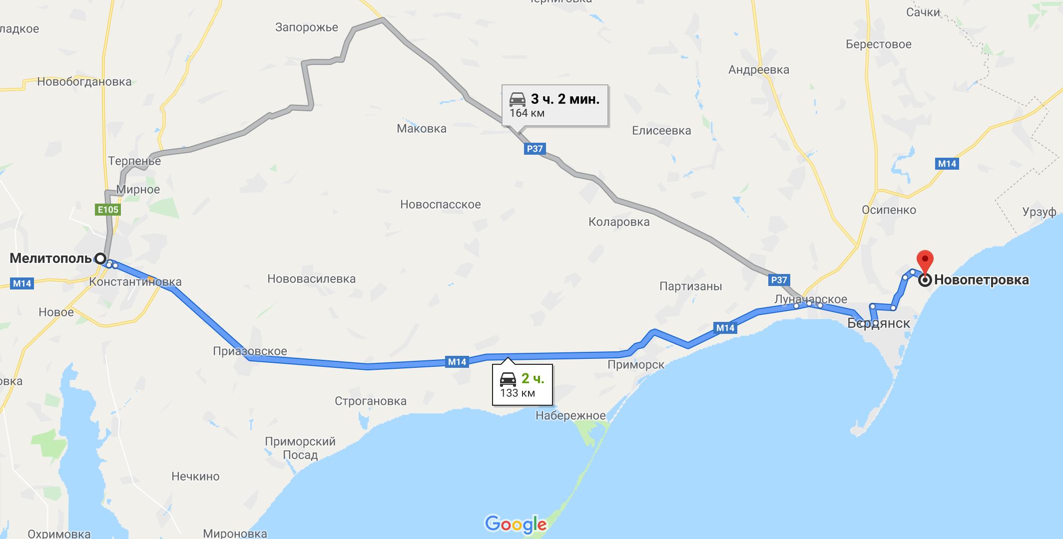 Как добраться до Новопетровки на авто из Мелитополя