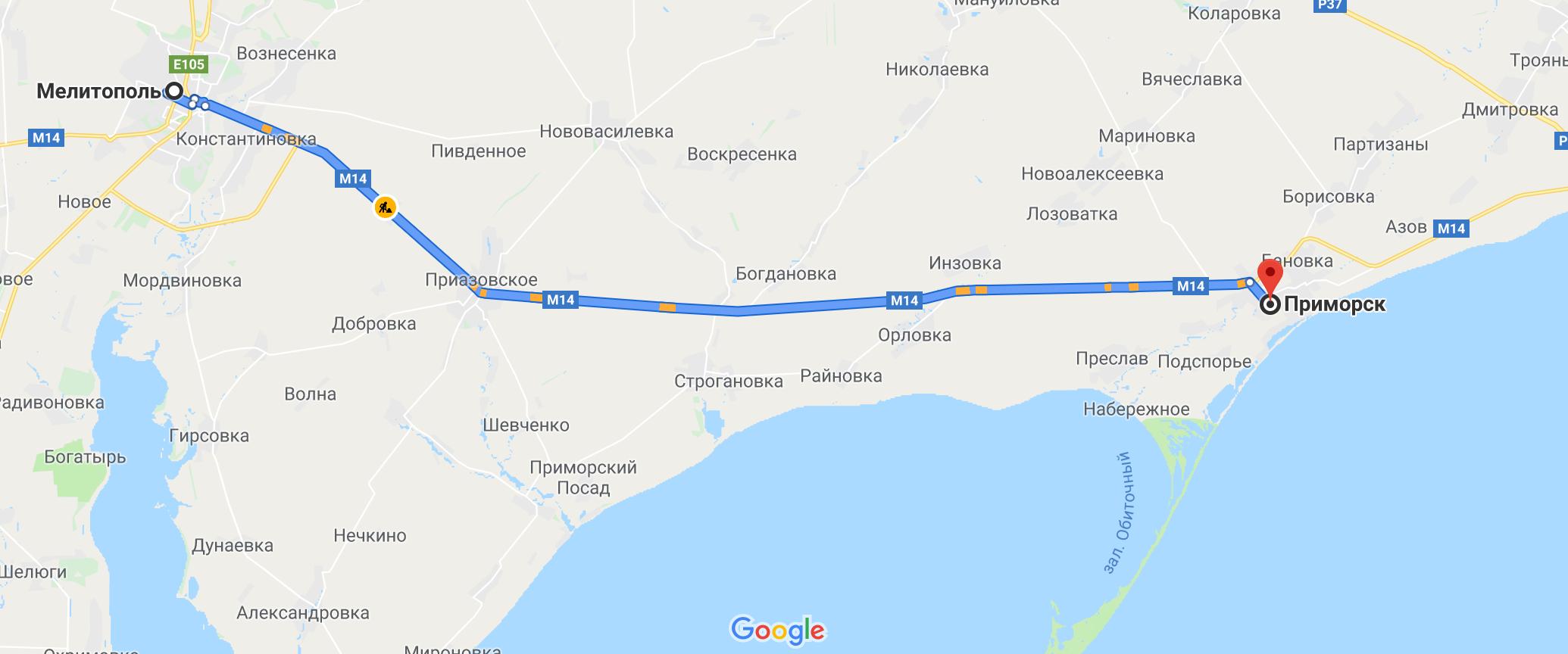 Как добраться до Приморска на авто из Мелитополя