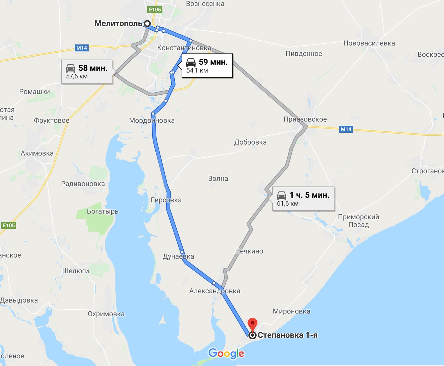 Как добраться до Степановки Первой на авто из Мелитополя