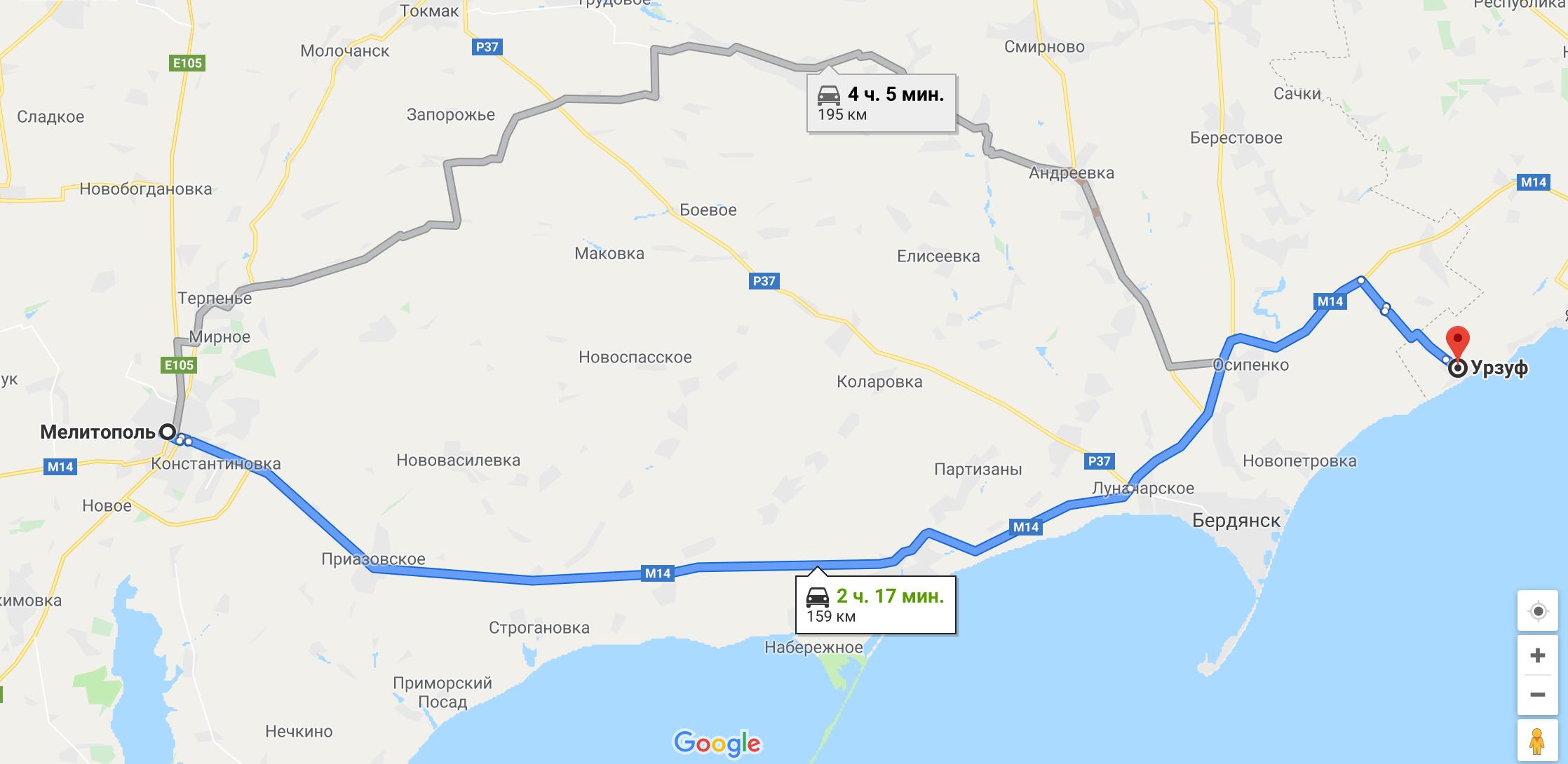 Как добраться в Урзуф на авто из Мелитополя