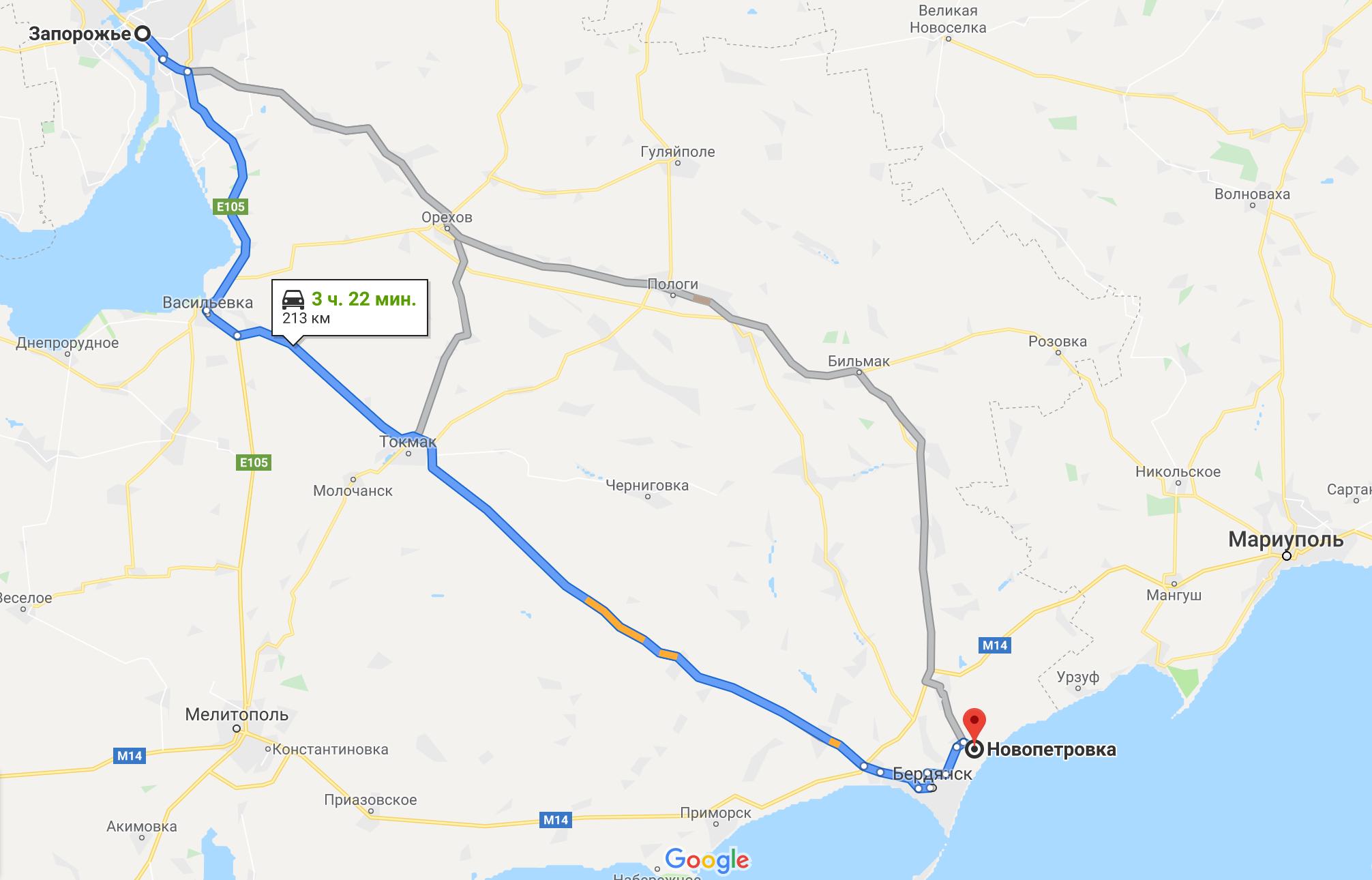 Как добраться до Новопетровки на авто из Запорожья