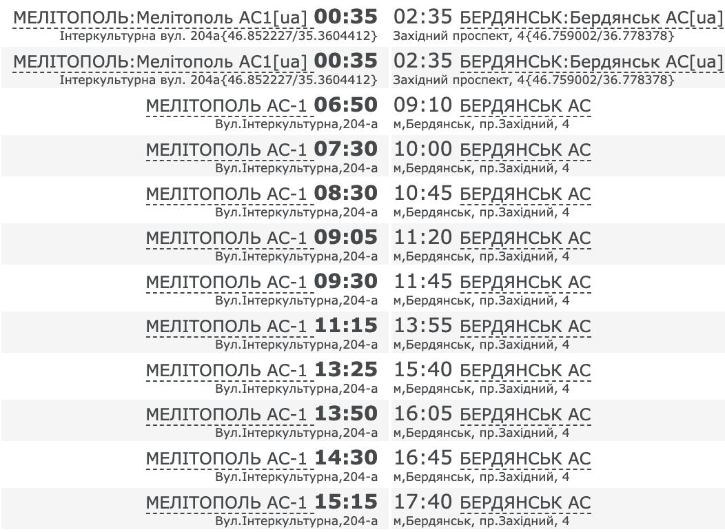 Как добраться до Бердянска на автобусе из Мелитополя. Расписание