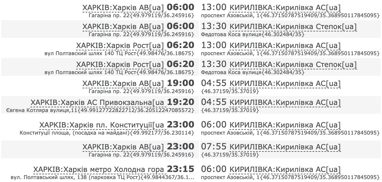 Как добраться до Кирилловки на автобусе из Харькова. Расписание