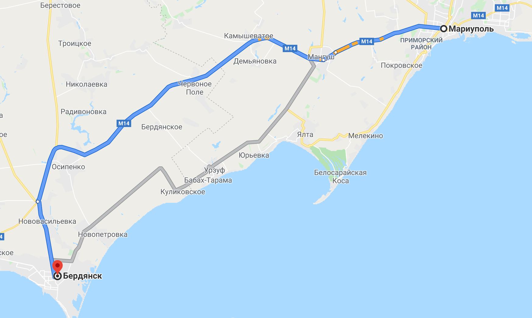 Как добраться до Бердянска на авто из Мариуполя