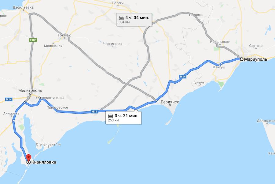 Как добраться до Кирилловки на авто из Мариуполя